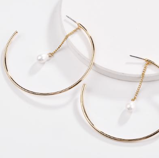 Circle Hoop Pearl Drop Earrings