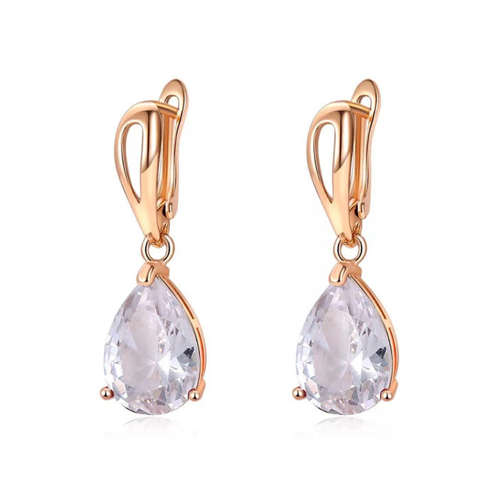 Gem Teardrop Earrings in Diamond Lite