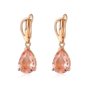 Gem Teardrop Earrings in Peach Perfect
