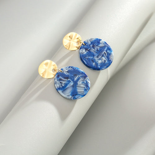 Gold & Marble Blue Drop Earrings