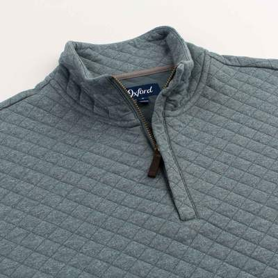 OXFORD Linden Quilted 1/4 Zip Pullover- Stormy Blue Heather