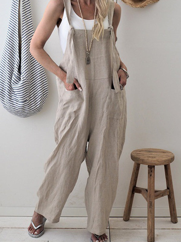Cotton-Blend Long Sleeve Sweet Jumpsuits