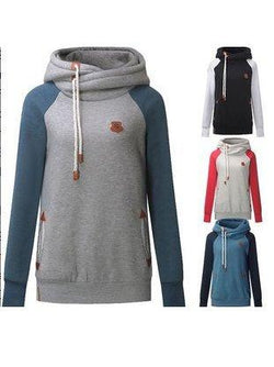 Casual Color-Block Pullover Plus Size Hoodie