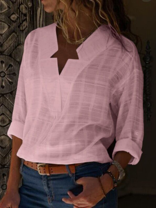 lorgeous Cotton Elegant Long Sleeve Plus Size V neck Blouse