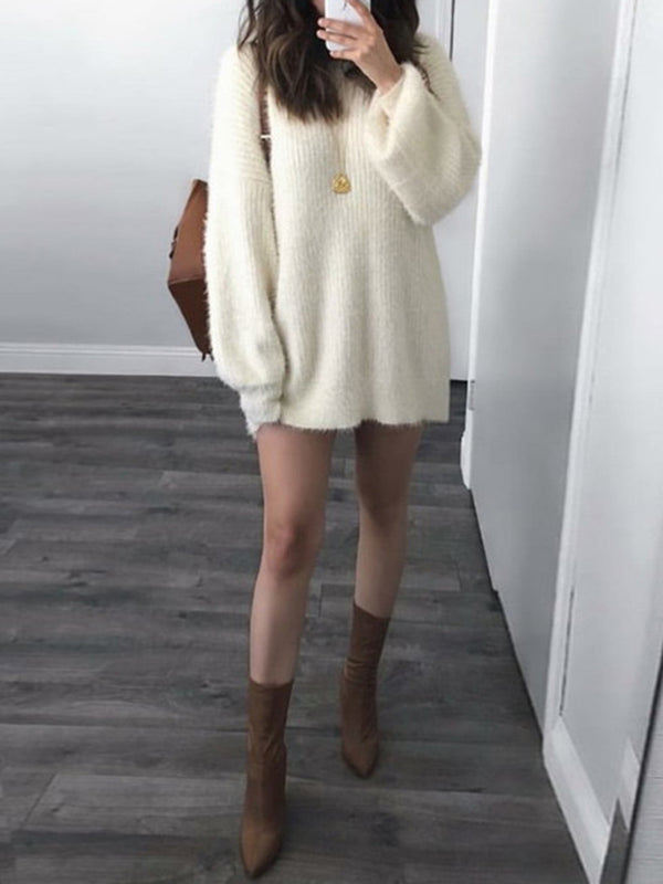 Casual Knitted Crew Neck Acrylic Sweater
