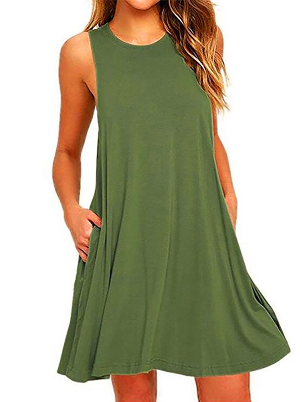 Dress - Sleeveless Casual A-Line Casual Dress