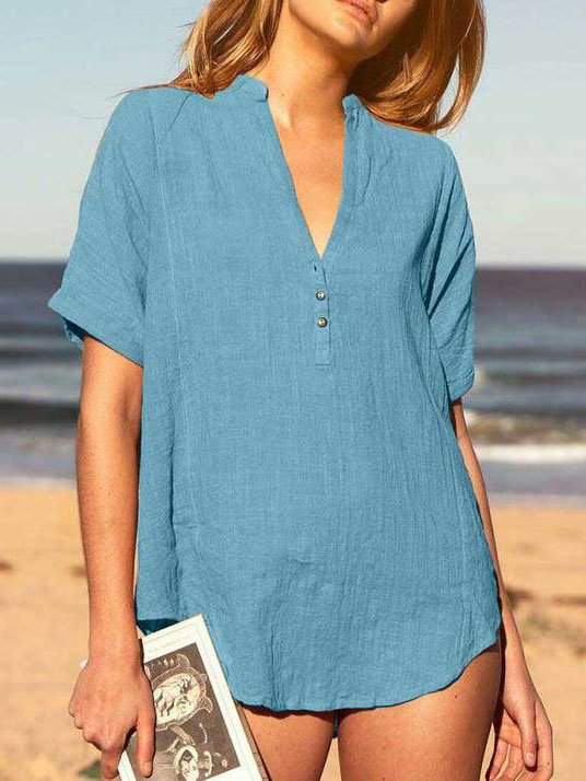 Plus Size Casual V Neck Short Sleeve Solid Tops