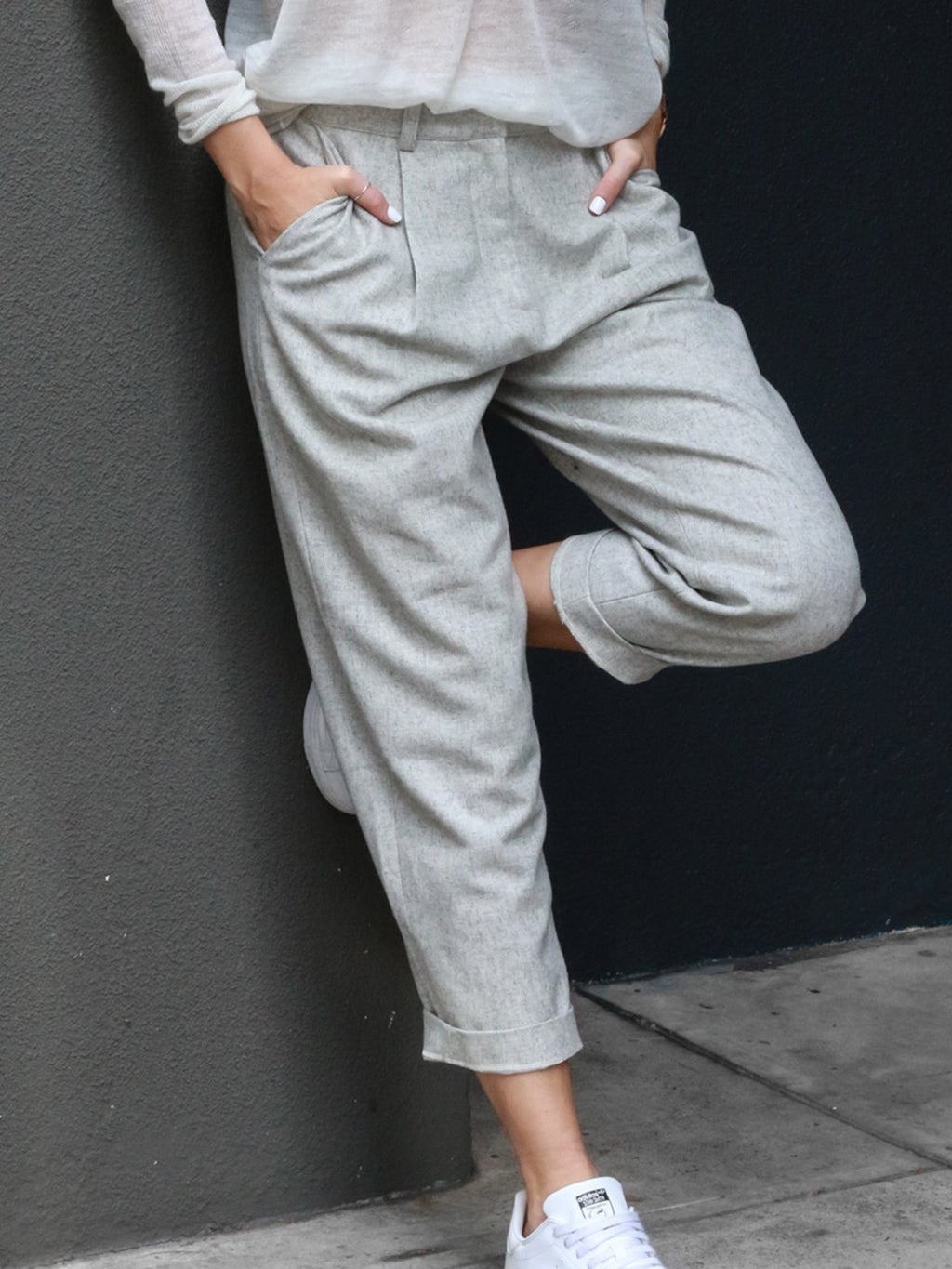 Woman Fashion Solid Cotton Casual Pants