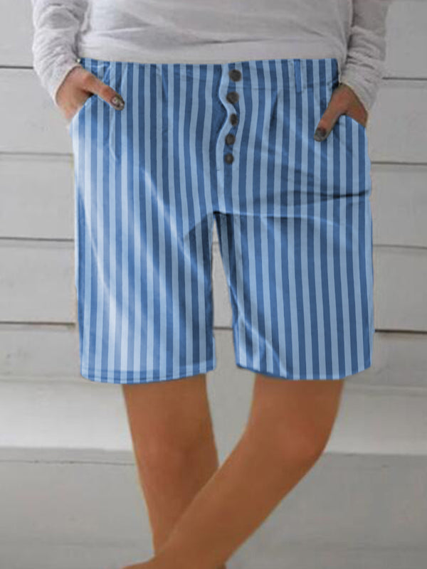 Woman Striped Button Decor Shorts With Pockets