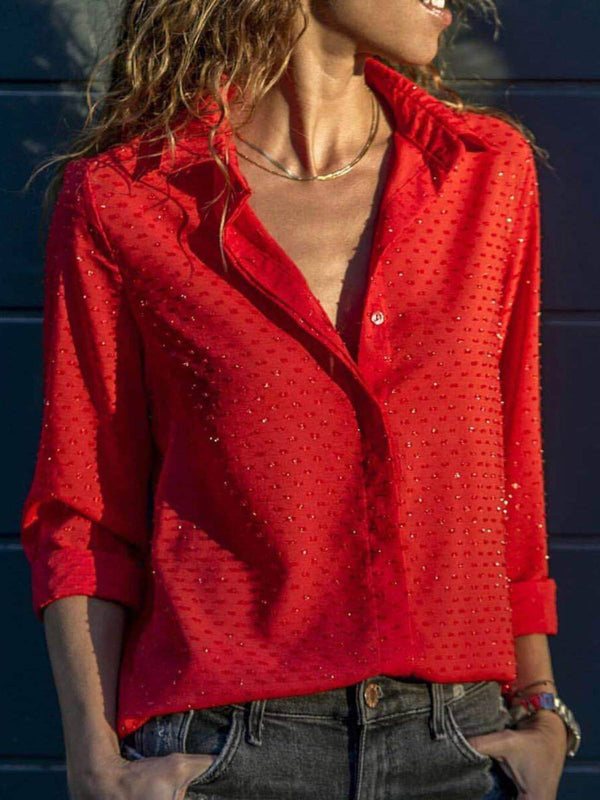 Red Buttoned Long Sleeve Shirts & Tops