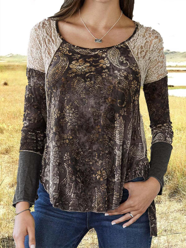 Floral Printed Lace Paneled Crew Neck Long Sleeve Casual T-Shirt