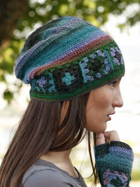 Color-Block Casual Knitted Hats