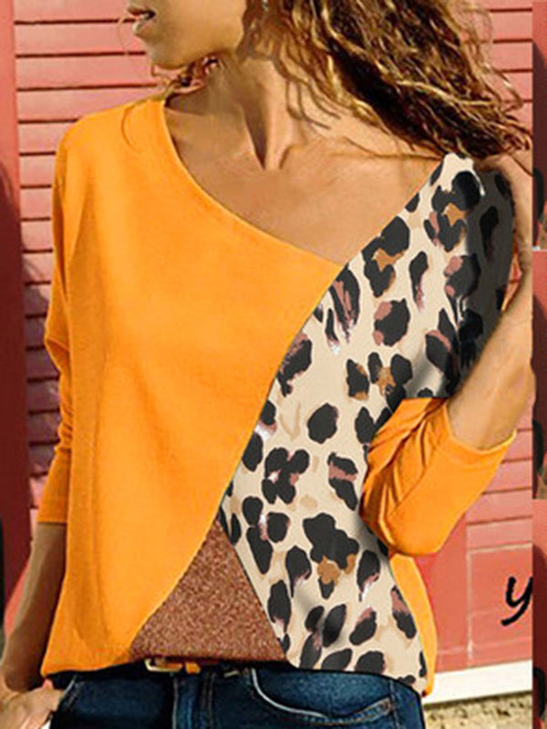 Casual Leopard Patchwork Round Neck Tops