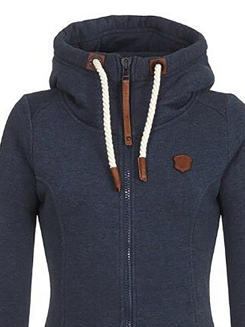 Solid Casual Zipper Long Sleeve Hoodie