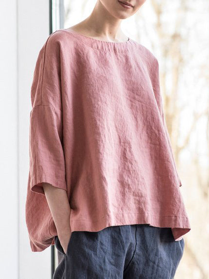 Women Round Neck Cotton And Linen Blouse