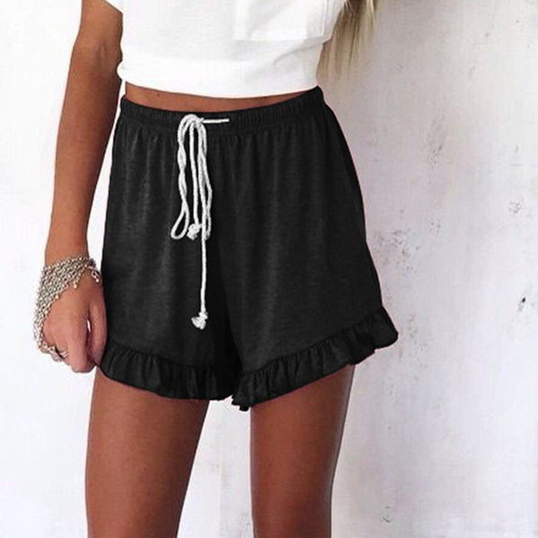 Woman Elastic Band Ruffled Sports Shorts