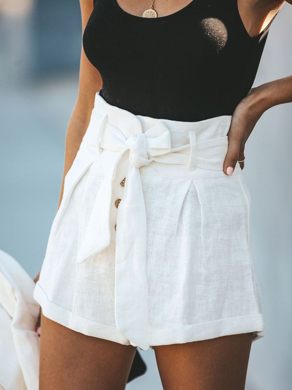 Woman Solid Casual Buttoned Shorts