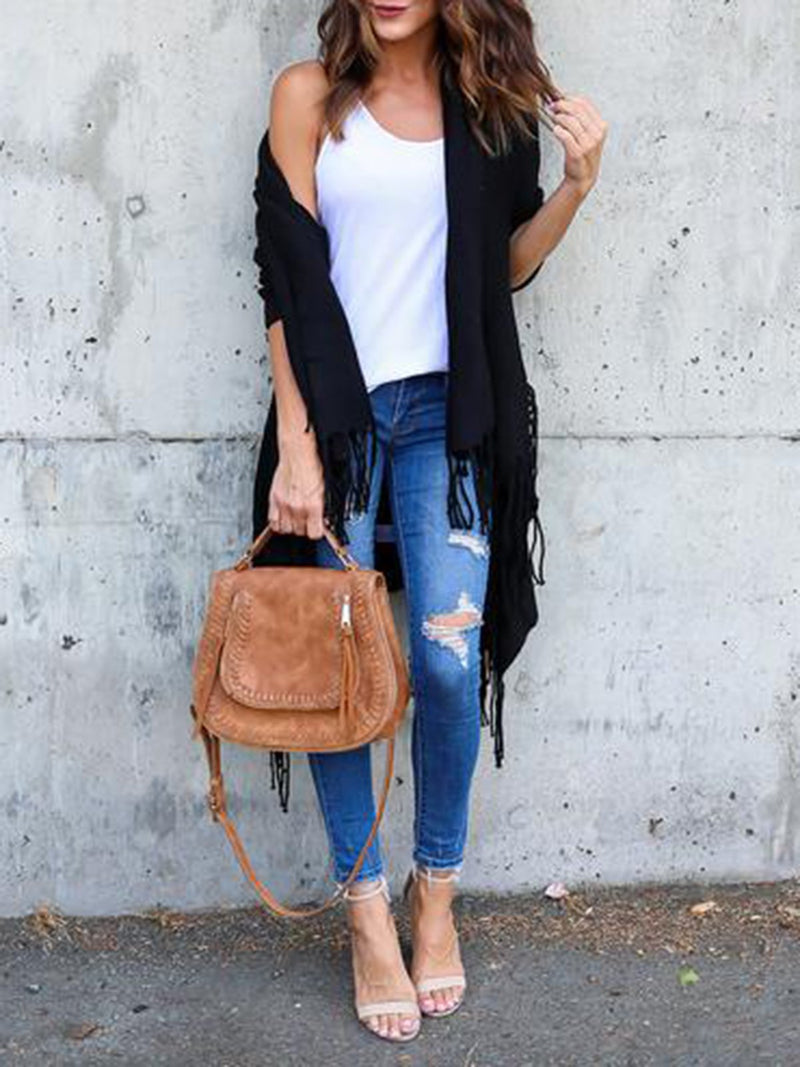 Casual Long Sleeve Solid Cardigan