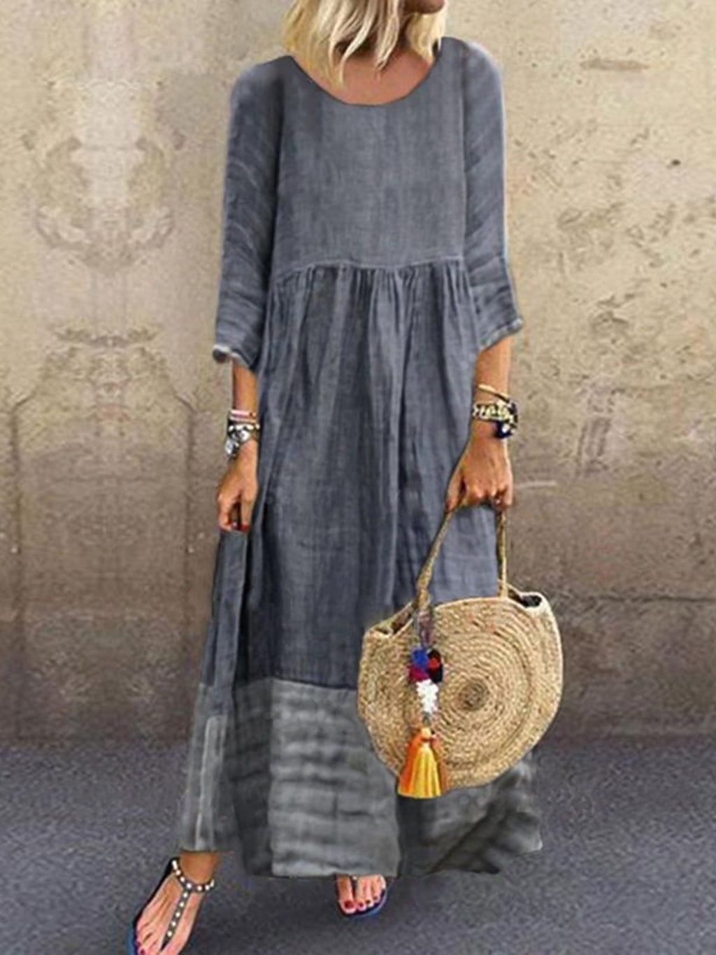 Crew Neck Gray Women  Shift Date Linen crew neck Plain Linen Paneled Dresses
