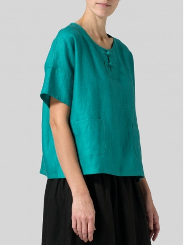 Casual Short Sleeve Round Neck Solid Plus Size Tops