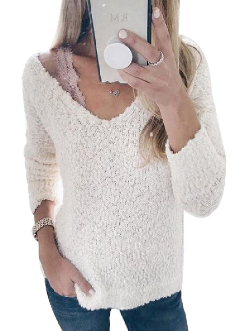 Cotton-Blend Long Sleeve Casual Top
