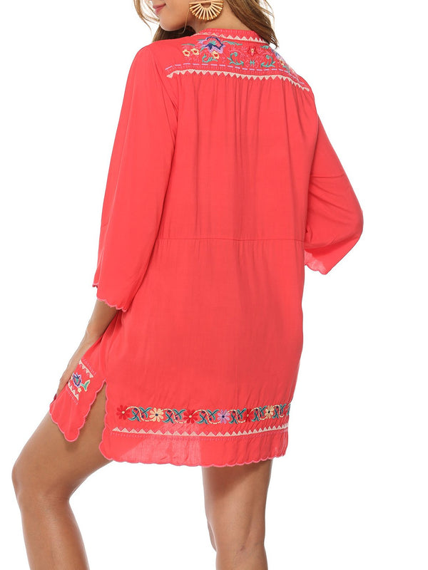 Red Boho Cotton Shirts & Tops