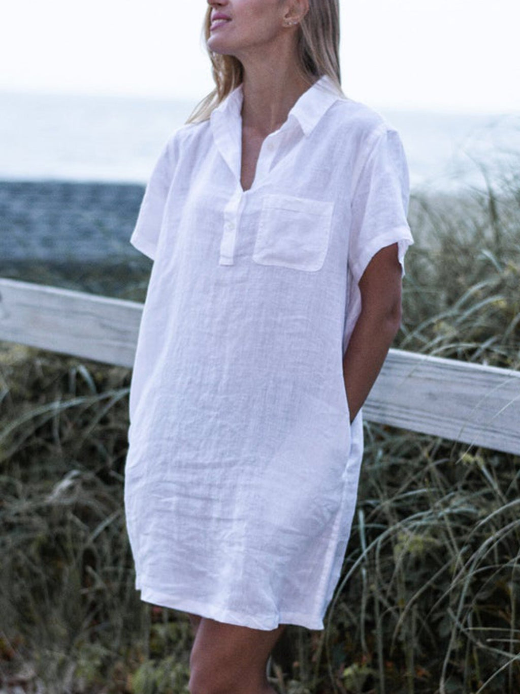 Women Plus Size Linen Loose Short-Sleeved Dresses
