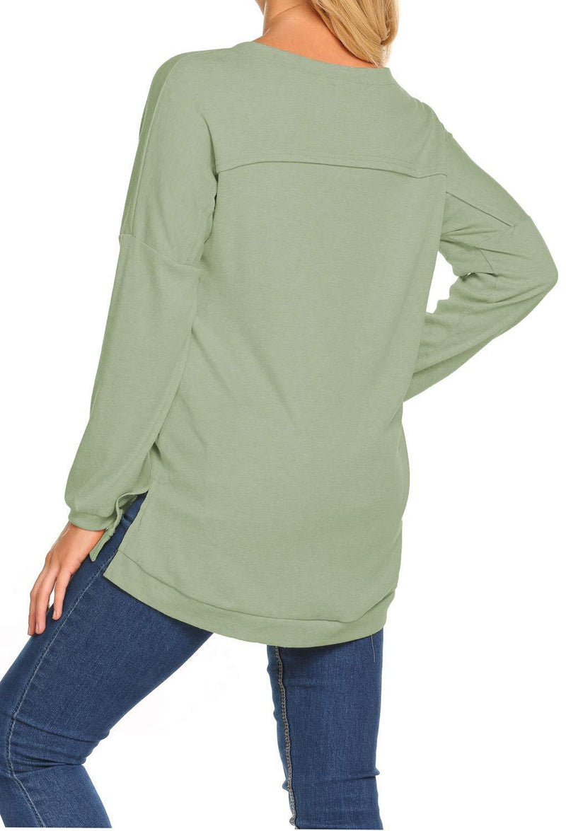 Casual Long Sleeve V Neck T-shirt