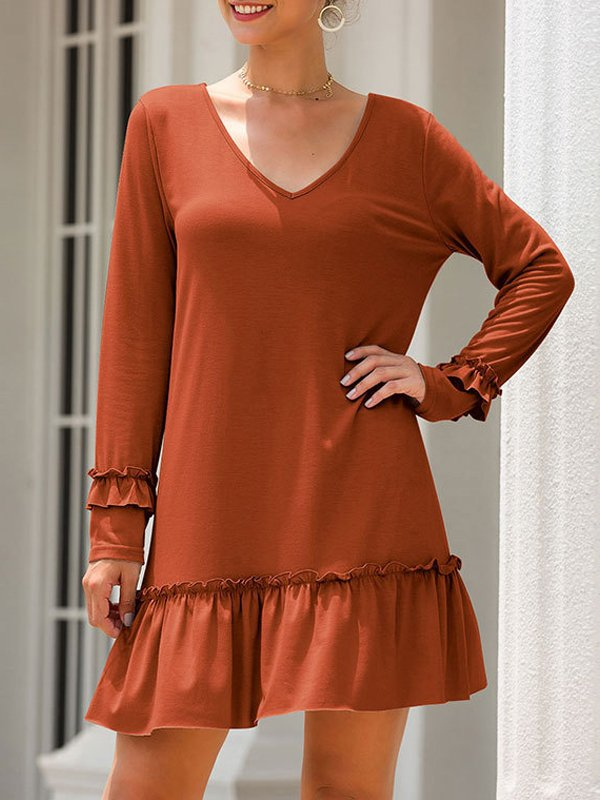 Long Sleeve Casual V Neck Dresses