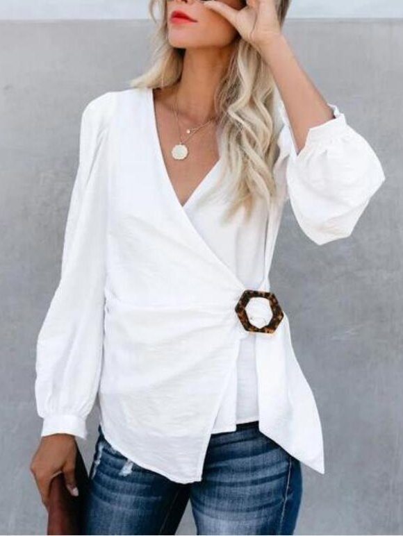 White Sexy Cotton Shirts & Tops