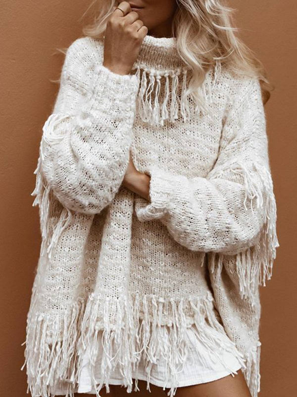 White Turtleneck Long Sleeve Knitted Shirts & Tops