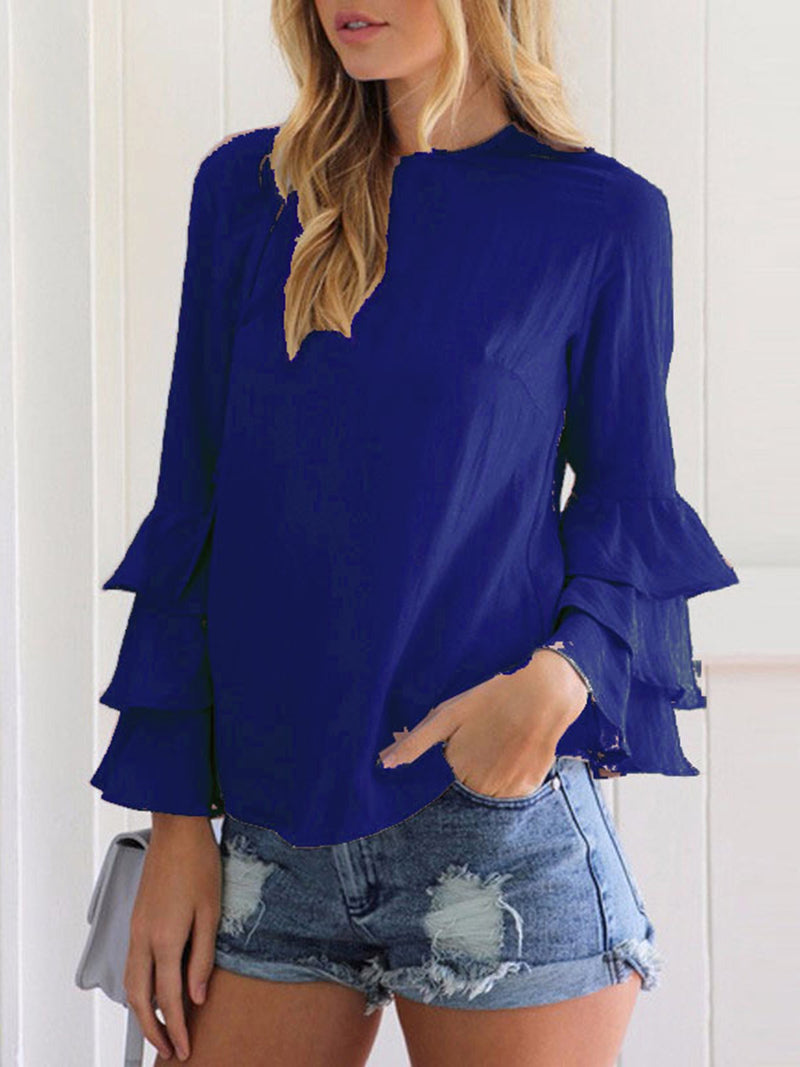 Crew Neck Frilled Long Sleeve Blouse
