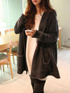Casual Hooded Pockets Open Front Coat