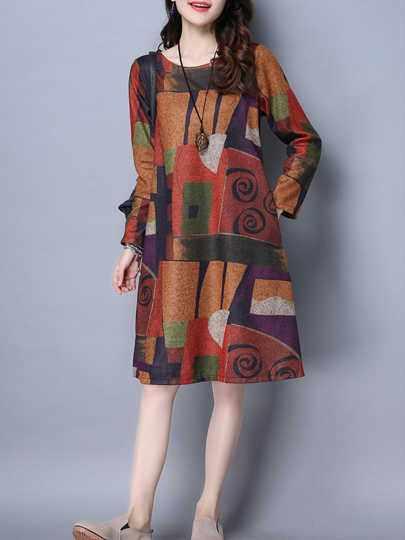 Casual Shift Abstract Dresses