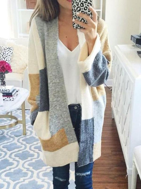 Color-block Long Sleeve Knitted Casual Cardigan