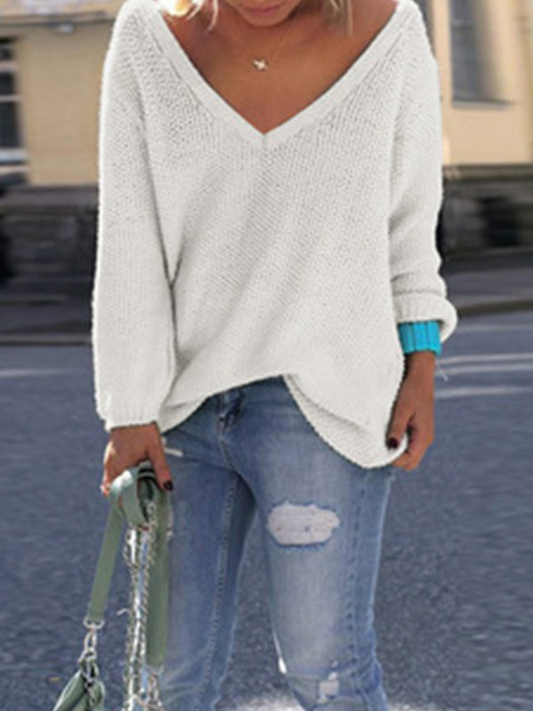 Long Sleeve V Neck Knitted Sweater