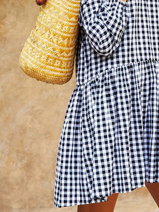 Grid Checkered/plaid Casual Crew Neck Dresses
