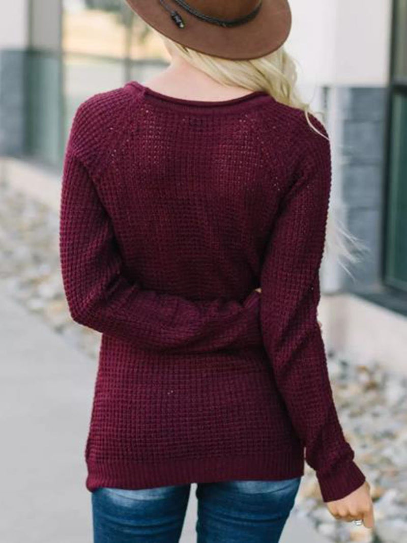 Casual Crew Neck Cotton-Blend Knit Sweater