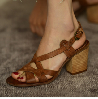 Women Vintage Chunky Heel Pumps Casual Sandals