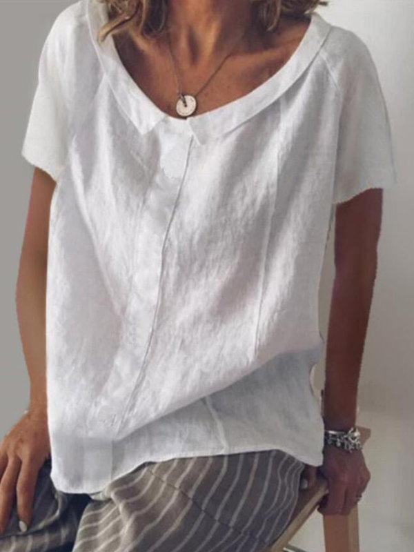 Women Casual Peter Pan Collar Cotton Short Sleeve Blouse