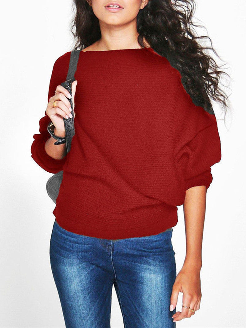 Casual Boat Neck Knit Sweater