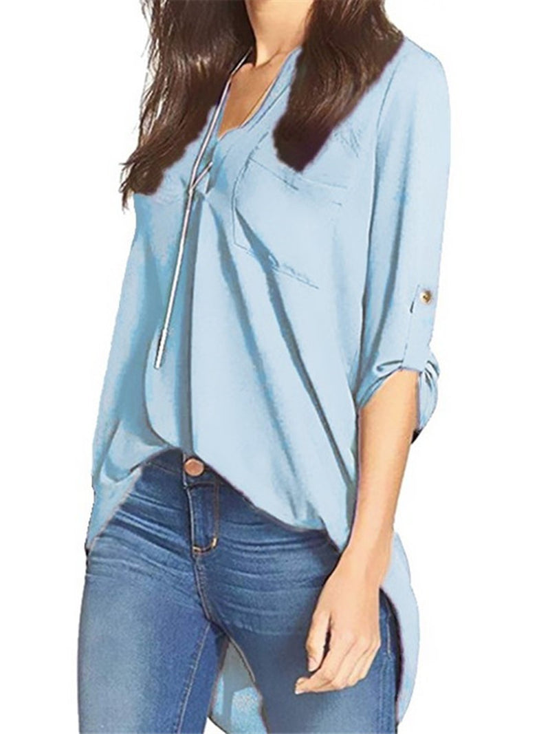 Chiffon Long Sleeve V Neck High Low Blouse