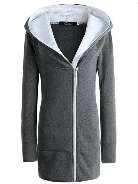 Comfy Autumn Women Hoodies Fleece Cotton Zippper Coat