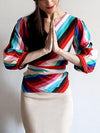 Color Block V Neck Wrap Top