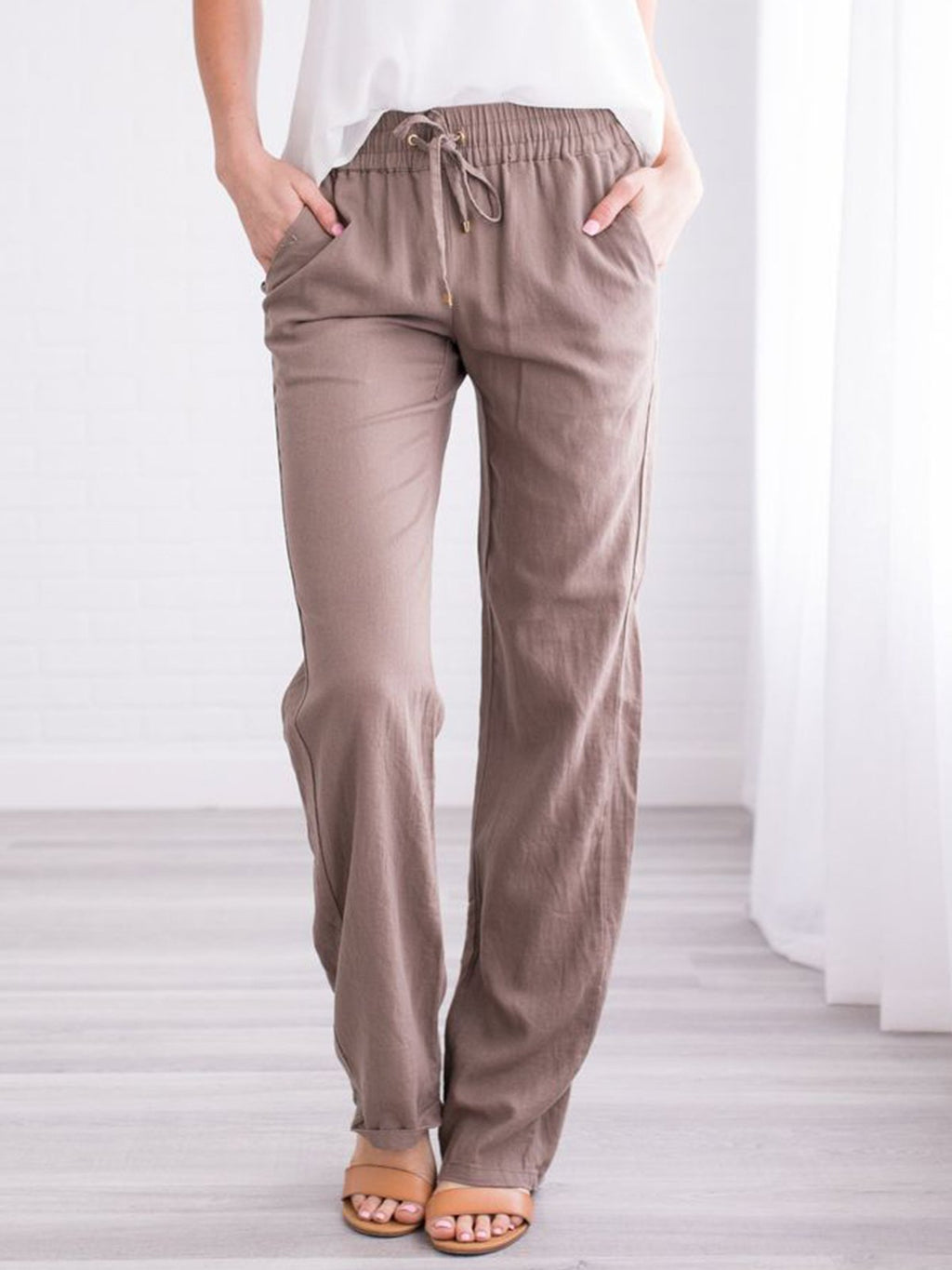 Solid Cotton-blend Casual Pants