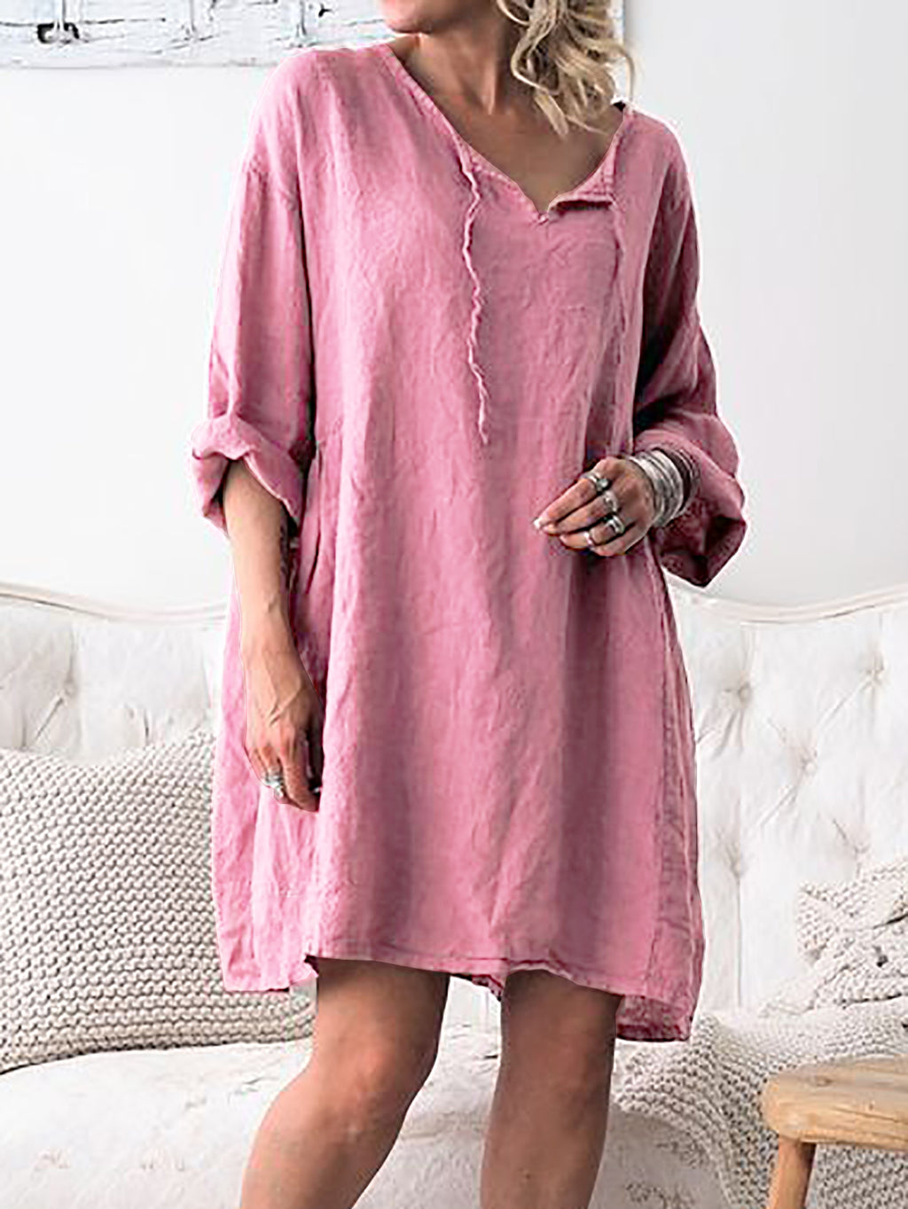 V Neck Women Shift Daytime Casual Solid Dresses