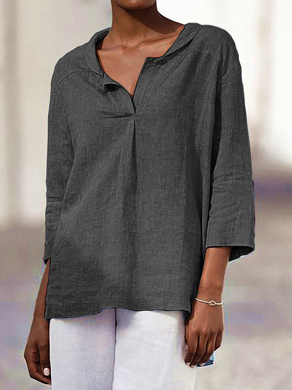 Women Casual Buttoned 3/4 Sleeve Blouse