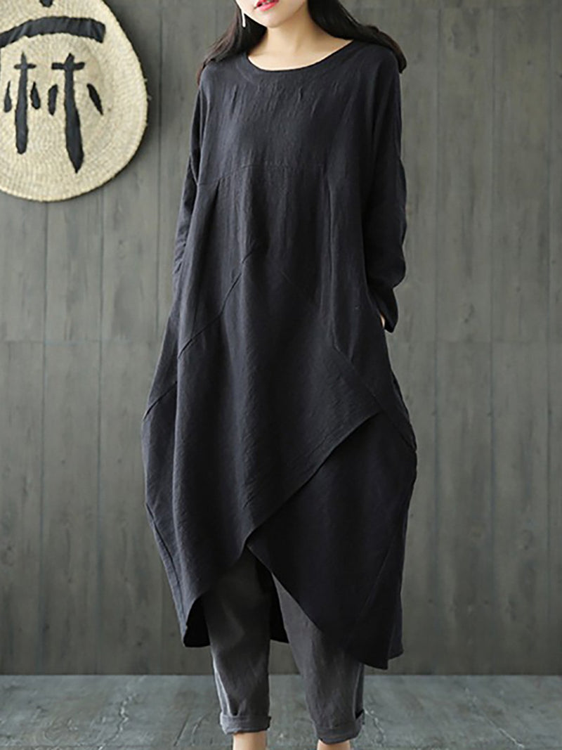Casual Long Sleeve Solid Dress