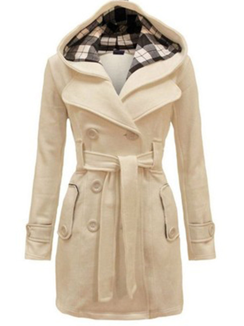 Double Breasted Belted Hooded Coat