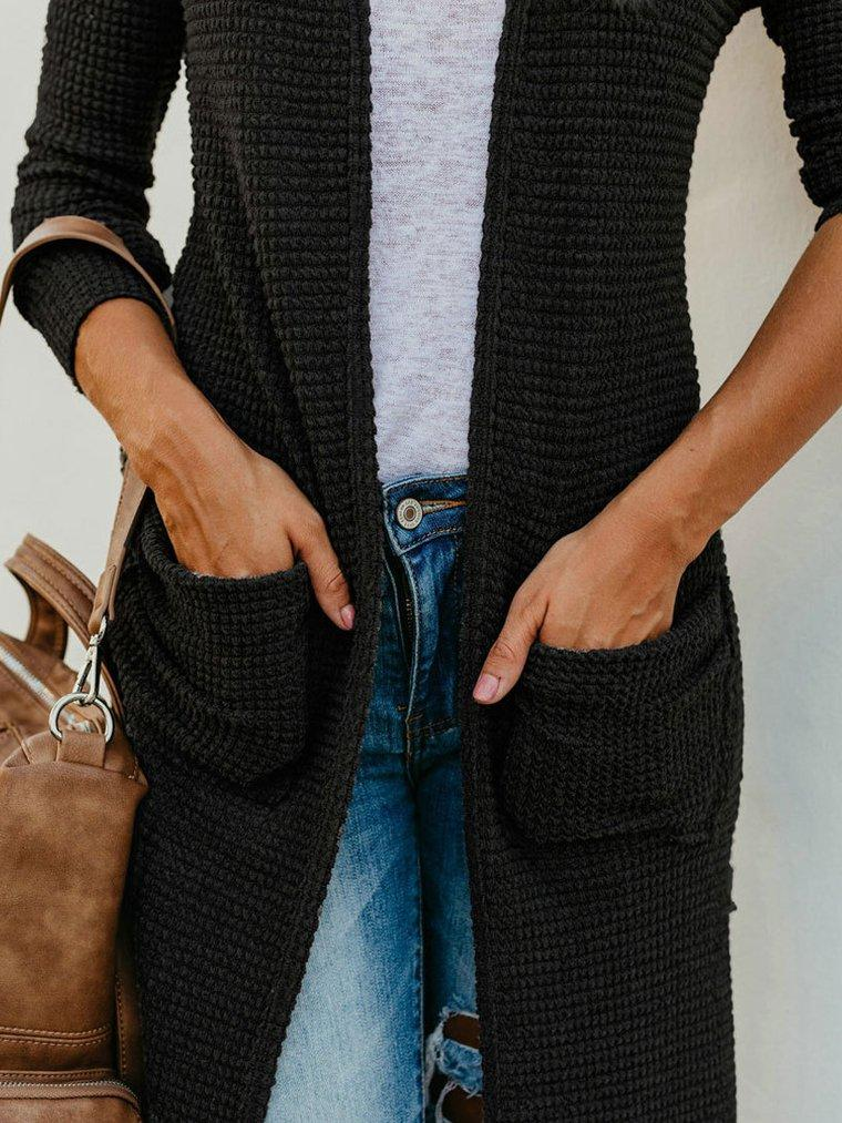 Casual Open Front Knitted Ankle Length Cardigan
